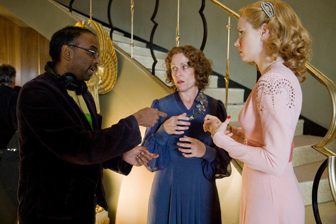 "Director Bahrit Vallori with Frances McDormand and Amy Adams making ""Miss Pettigrew Lives for a Day."""