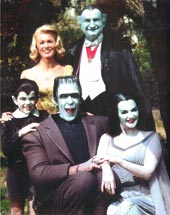 The Munsters (left to right): Butch Patrick, Beverley Owen, Fred Gwynne, Al Lewis and Yvonne DeCarlo