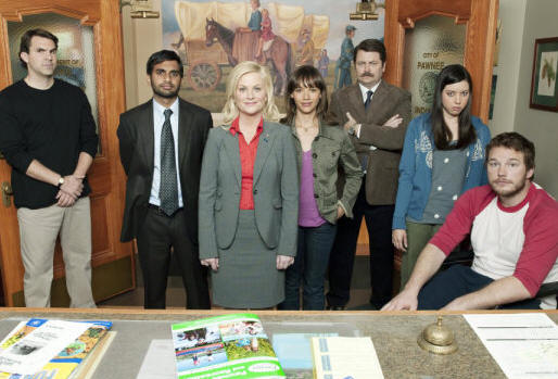 PARKS AND RECREATION -- Pictured: (l-r) Paul Schneider as Mark Brendanawicz, Aziz Ansari as Tom Haverford, Amy Poehler as Leslie Knope, Rashida Jones as Ann Perkins, Nick Offerman as Ron Swanson, Aubrey Plaza as April Ludgate, Chris Pratt as Andy -- NBC Photo: Mitchell Haaseth
