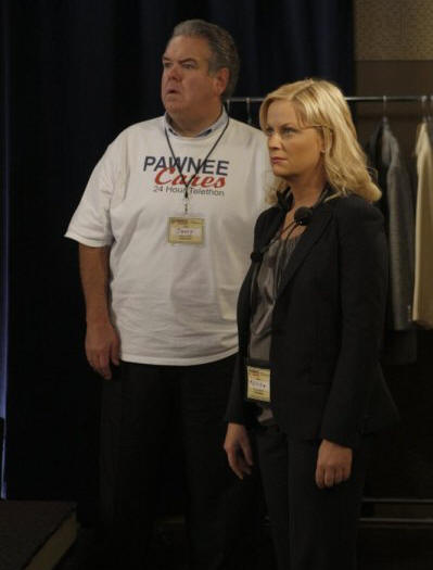 "PARKS AND RECREATION -- ""Telethon"" Episode 222 -- Pictured: (l-r) Jim O'Heir as Jerry Gergich, Amy Poehler as Leslie Knope -- Photo by: Byron Cohen/NBC"