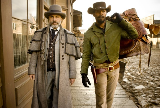 "Christoph Waltz and Jamie Foxx star as King Schultz and Django in ""Django Unchained."""