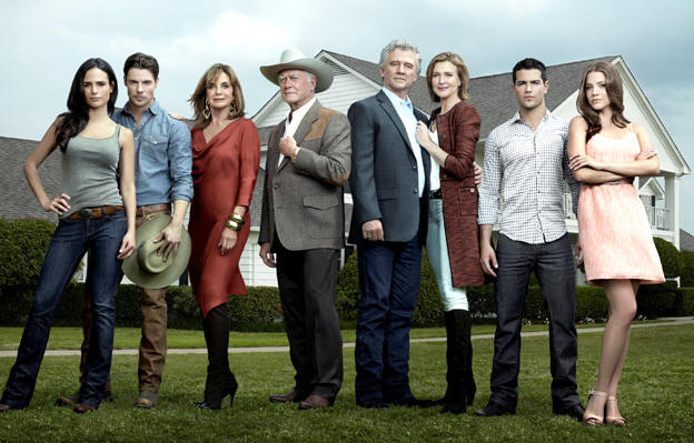 Jordana Brewster, Josh Henderson, Linda Gray, Larry Hagman, Patrick Duffy, Brenda Strong, Jesse Metcalfe and Julie Gonzalo in DALLAS.