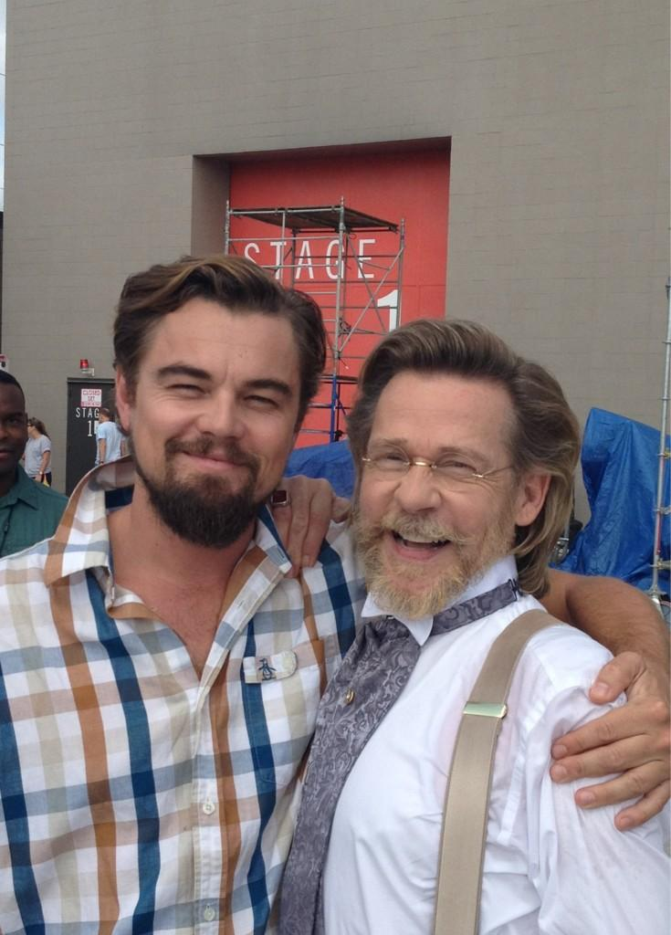 "Leonardo DiCaprio and Dennis Christopher on the set of ""Django Unchained."""