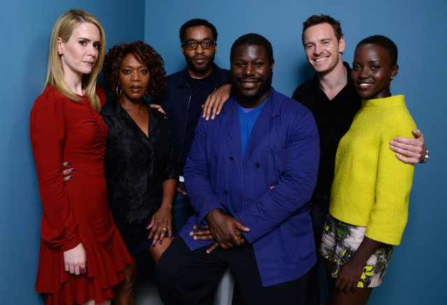 "Sarah Paulson, Alfre Woodard, Chiwetel Ejiofor, Steve McQueen, Michael Fassbender and Lupita Nyong'o at the NY Press Conference for ""12 Years a Slave."""