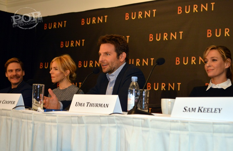 Daniel Brühl, Sienna Miller, Bradley Cooper and Uma Thurman at the New York press conference for Burnt. Photo ©2015 Jay S. Jacobs. All rights reserved.