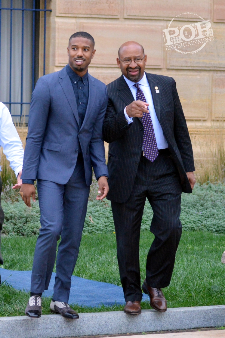 Michael B. Jordan and Mayor Michael Nutter at the Philadelphia press conference for �Creed� on the steps of the Philadelphia Museum of Art. Photo copyright 2015 Deborah Wagner.
