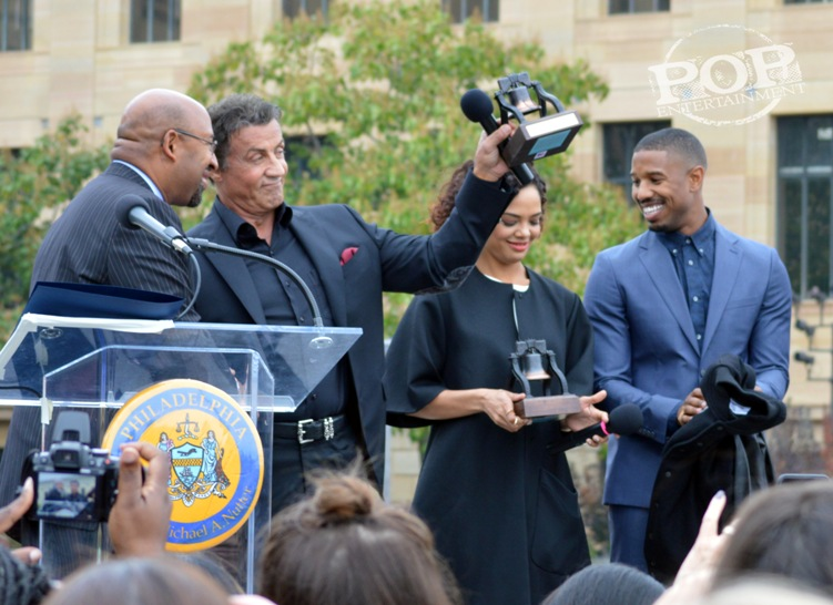 Mayor Michael Nutter, Sylvester Stallone, Tessa Thompson and Michael B. Jordan at the Philadelphia press conference for �Creed� on the steps of the Philadelphia Museum of Art. Photo copyright 2015 Deborah Wagner.