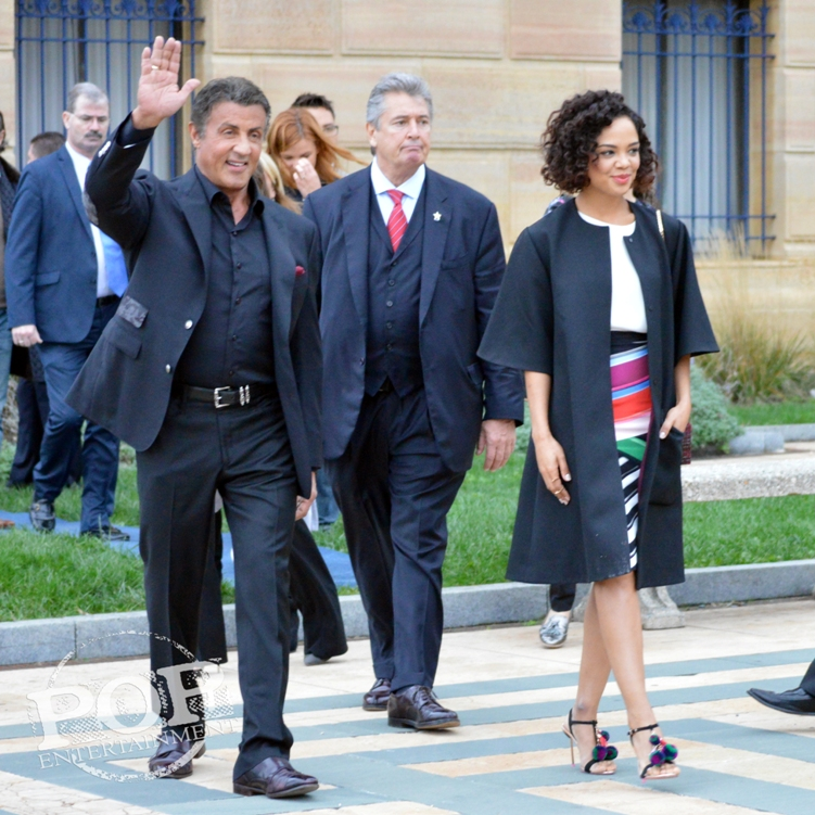 Sylvester Stallone and Tessa Thompson at the Philadelphia press conference for �Creed� on the steps of the Philadelphia Museum of Art. Photo copyright 2015 Deborah Wagner.