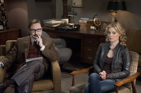 "COMMUNITY -- ""Curriculum Unavailable"" Episode 319 -- Pictured: (l-r) John Hodgman as Dr. David Heidi, Gillian Jacobs as Britta -- Photo by: Lewis Jacobs/NBC"