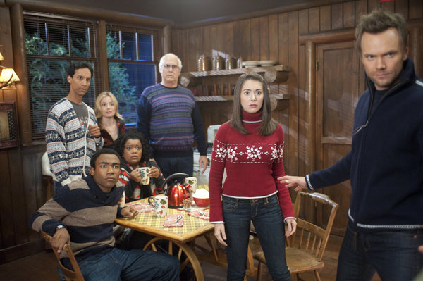 "COMMUNITY -- ""Horror Fiction in Seven Spooky Steps!"" Episode 305 -- Pictured: (l-r) Donald Glover as Troy, Danny Pudi as Abed, Gillian Jacobs as Britta, Yvette Nicole Brown as Shirley, Chevy Chase as Pierce, Alison Brie as Annie, Joel McHale as Jeff -- Photo by: Lewis Jacobs/NBC"