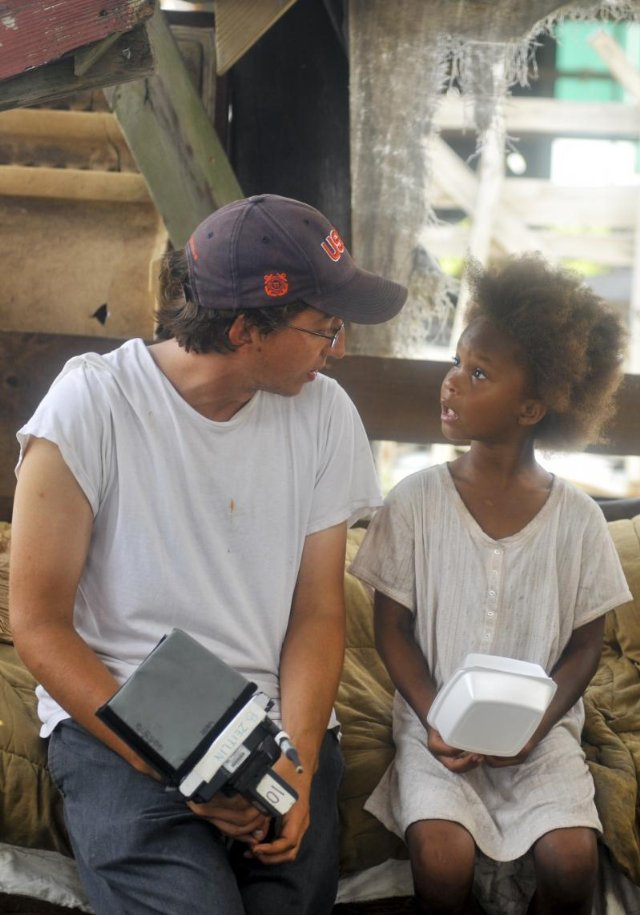 "Director Behn Zietlin and Quvenzhané Wallis filming ""Beasts of the Southern Wild."""