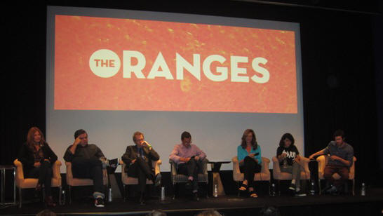 "Catherine Keener, Oliver Platt, Hugh Laurie, Julian Farino, Allison Janney, Alia Shawkat & Adam Brody at the New York Press Conference for ""The Oranges"" at the Crosby Street Hotel, New York, NY, Septermber 14, 2012."