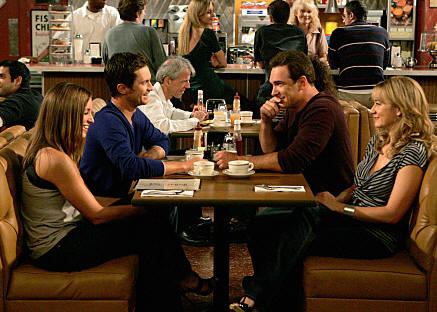 """Dad's Visit"" --Pictured (L-R) Bianca Kajlich as Jennifer, Oliver Hudson as Adam, Patrick Warburton as Jeff and Megyn Price as Audrey of the CBS series RULES OF ENGAGEMENT, Monday, March 23 (9:30-10:00 PM, ET/PT) on the CBS Television Network. Photo: Monty Brinton/CBS �2008 CBS Broadcasting Inc. All Rights Reserved."