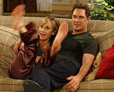 """Lyin' King""--Jeff (Patrick Warburton) and Audrey (Megyn Price) come up with a lie to get out of going to a party at Adam and Jennifer's, on RULES OF ENGAGEMENT Monday, March 30 (9:30-10:00 PM, ET/PT) on the CBS Television Network."