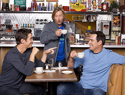 RULES OF ENGAGEMENT, a comedy about the different phases of male/female relationships, as seen the through the eyes of an engaged couple, a long-time married pair and a single guy on the prowl. Pictured (L-R) Oliver Hudson, David Spade, and Patrick Warburton in the CBS series RULES OF ENGAGEMENT season premieres Monday, March 2 at 9:30 PM on the CBS Television Network.