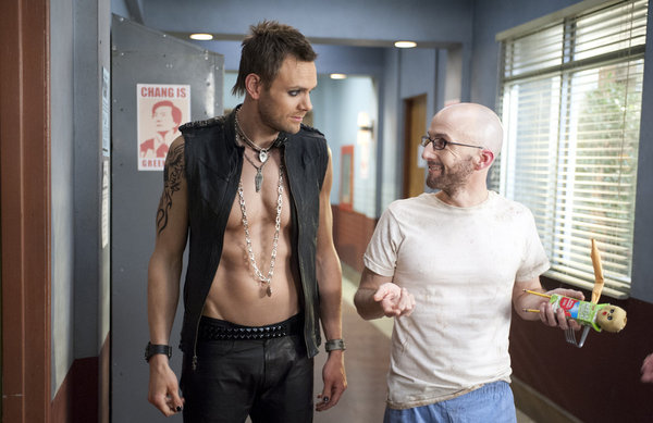"COMMUNITY -- ""The First Chang Dynasty"" Episode 320 -- Pictured: (l-r) Joel McHale as Jeff, Jim Rash as Dean Pelton -- (Photo by: Lewis Jacobs/NBC)"