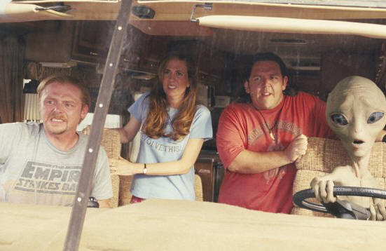 Simon Pegg, Kristin Wiig, Nick Frost and the title character in PAUL.