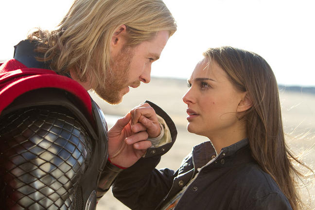 Chris Hemsworth and Natalie Portman in THOR.