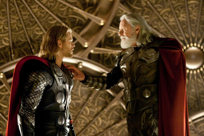 Chris Hemsworth and Sir Anthony Hopkins in THOR.